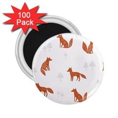 Fox Animal Wild Pattern 2 25  Magnets (100 Pack)