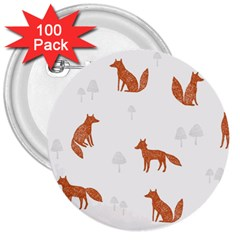 Fox Animal Wild Pattern 3  Buttons (100 Pack)