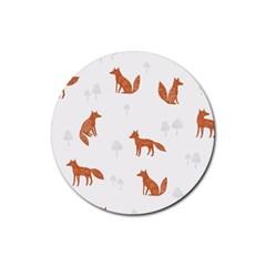 Fox Animal Wild Pattern Rubber Coaster (round)