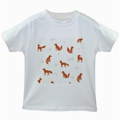 Fox Animal Wild Pattern Kids White T Shirts