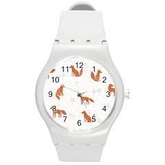 Fox Animal Wild Pattern Round Plastic Sport Watch (m)