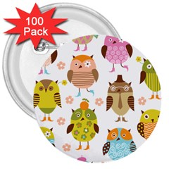 Cute Owls Pattern 3  Buttons (100 Pack)
