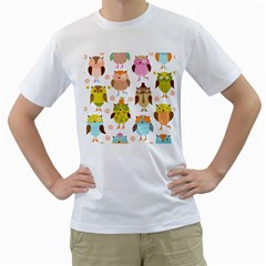 Cute Owls Pattern Men s T Shirt (white) (two Sided)