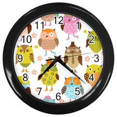 Cute Owls Pattern Wall Clocks (black)