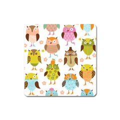 Cute Owls Pattern Square Magnet