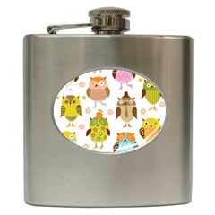 Cute Owls Pattern Hip Flask (6 Oz)