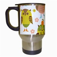 Cute Owls Pattern Travel Mugs (white)