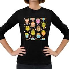 Cute Owls Pattern Women s Long Sleeve Dark T Shirts
