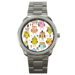 Cute Owls Pattern Sport Metal Watch