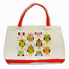 Cute Owls Pattern Classic Tote Bag (red)
