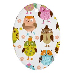 Cute Owls Pattern Oval Ornament (two Sides)