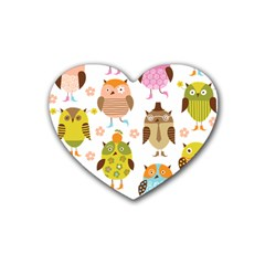 Cute Owls Pattern Rubber Coaster (heart)