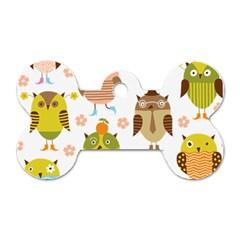 Cute Owls Pattern Dog Tag Bone (two Sides)