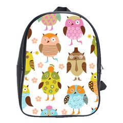 Cute Owls Pattern School Bags(large)