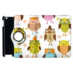Cute Owls Pattern Apple Ipad 2 Flip 360 Case