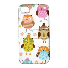 Cute Owls Pattern Apple Iphone 4/4s Hardshell Case With Stand