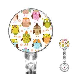 Cute Owls Pattern Stainless Steel Nurses Watch