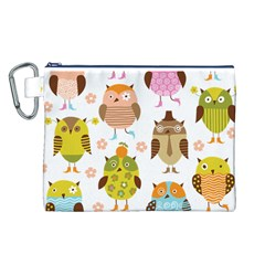 Cute Owls Pattern Canvas Cosmetic Bag (l)
