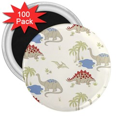 Dinosaur Art Pattern 3  Magnets (100 Pack)