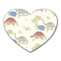 Dinosaur Art Pattern Heart Mousepads