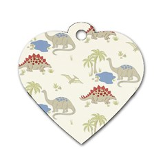 Dinosaur Art Pattern Dog Tag Heart (two Sides)