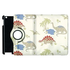 Dinosaur Art Pattern Apple Ipad 2 Flip 360 Case