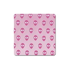 Alien Pattern Pink Square Magnet