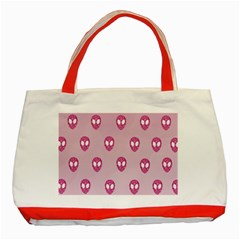 Alien Pattern Pink Classic Tote Bag (red)