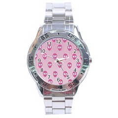 Alien Pattern Pink Stainless Steel Analogue Watch