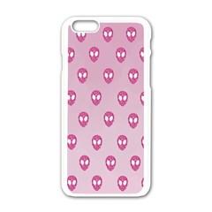 Alien Pattern Pink Apple Iphone 6/6s White Enamel Case