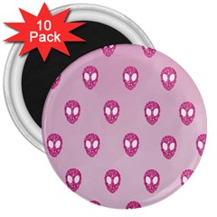 Alien Pattern Pink 3  Magnets (10 Pack)