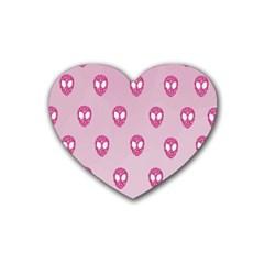 Alien Pattern Pink Rubber Coaster (heart)