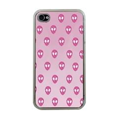 Alien Pattern Pink Apple Iphone 4 Case (clear)
