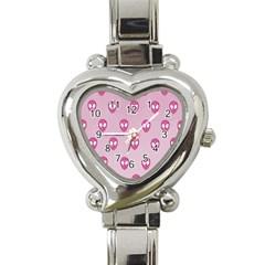 Alien Pattern Pink Heart Italian Charm Watch