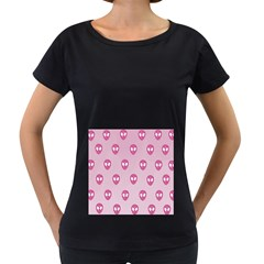 Alien Pattern Pink Women s Loose Fit T Shirt (black)