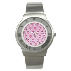 Alien Pattern Pink Stainless Steel Watch