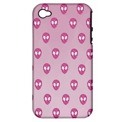 Alien Pattern Pink Apple Iphone 4/4s Hardshell Case (pc+silicone)