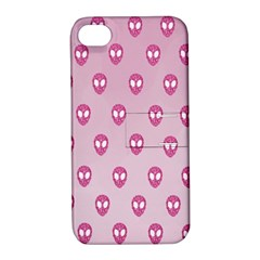 Alien Pattern Pink Apple Iphone 4/4s Hardshell Case With Stand