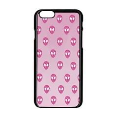 Alien Pattern Pink Apple Iphone 6/6s Black Enamel Case