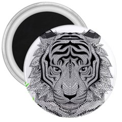 Tiger Head 3  Magnets