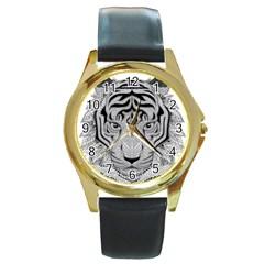 Tiger Head Round Gold Metal Watch