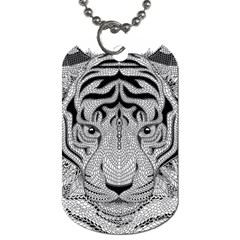 Tiger Head Dog Tag (one Side)