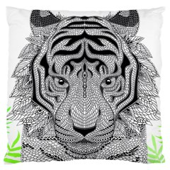 Tiger Head Large Cushion Case (two Sides)