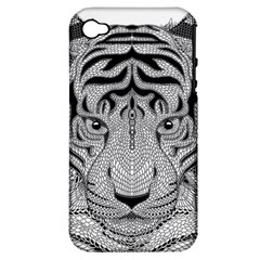 Tiger Head Apple Iphone 4/4s Hardshell Case (pc+silicone)