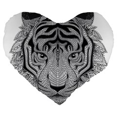 Tiger Head Large 19  Premium Heart Shape Cushions