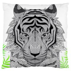 Tiger Head Large Flano Cushion Case (one Side)