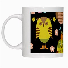 Cute Owls Pattern White Mugs