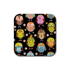 Cute Owls Pattern Rubber Square Coaster (4 Pack)