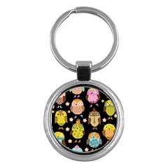 Cute Owls Pattern Key Chains (round)