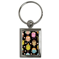 Cute Owls Pattern Key Chains (rectangle)